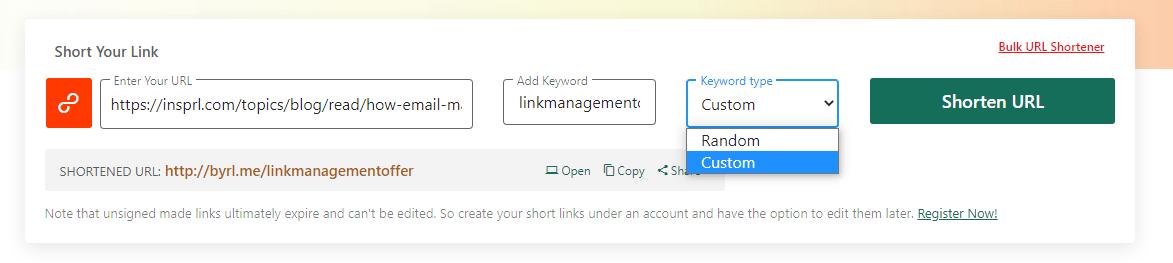 generate custom short link